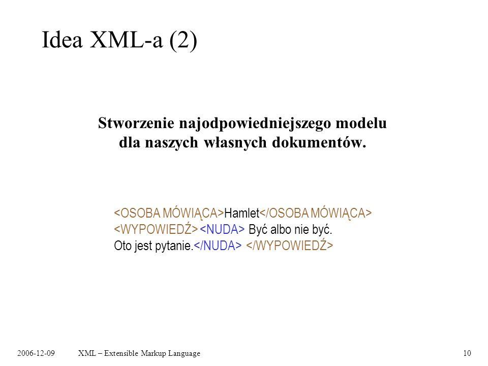2006-12-09XML – Extensible Markup Language10 Idea XML-a (2) Stworzenie najodpowiedniejszego modelu dla naszych własnych dokumentów. Hamlet Być albo ni