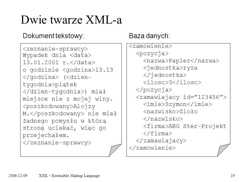 2006-12-09XML – Extensible Markup Language19 Dwie twarze XML-a Baza danych:Dokument tekstowy: Papier ryza 3 Szymon Zioło ABG Ster-Projekt Wypadek dnia
