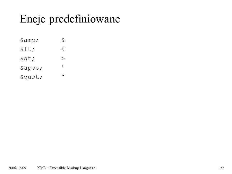 2006-12-09XML – Extensible Markup Language22 Encje predefiniowane &amp;& &lt;< &gt;> &apos;' &quot;