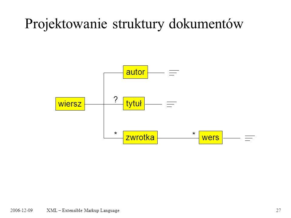 2006-12-09XML – Extensible Markup Language27 Projektowanie struktury dokumentów wiersz autor tytuł zwrotka * ? wers *