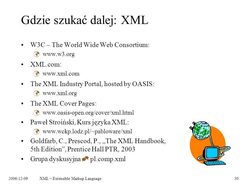 2006-12-09XML – Extensible Markup Language30 Gdzie szukać dalej: XML W3C – The World Wide Web Consortium: www.w3.org XML.com: www.xml.com The XML Indu