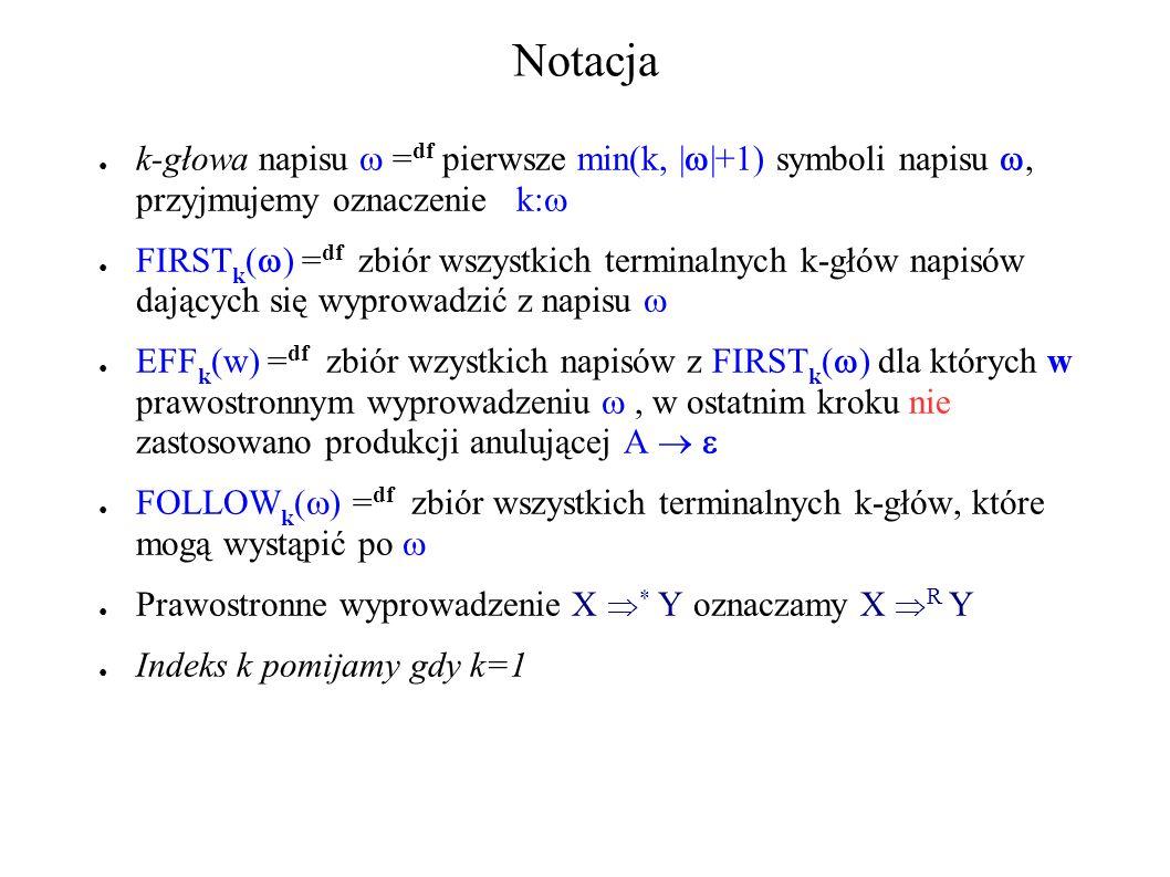 Notacja k-głowa napisu = df pierwsze min(k, | |+1) symboli napisu, przyjmujemy oznaczenie k: FIRST k ( ) = df zbiór wszystkich terminalnych k-głów nap