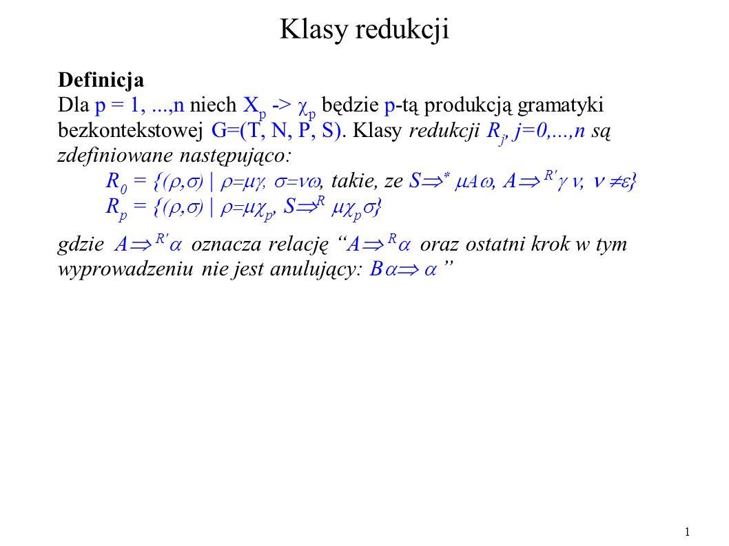 Klasy redukcji Definicja Dla p = 1,...,n niech X p -> p będzie p-tą produkcją gramatyki bezkontekstowej G=(T, N, P, S). Klasy redukcji R j, j=0,...,n