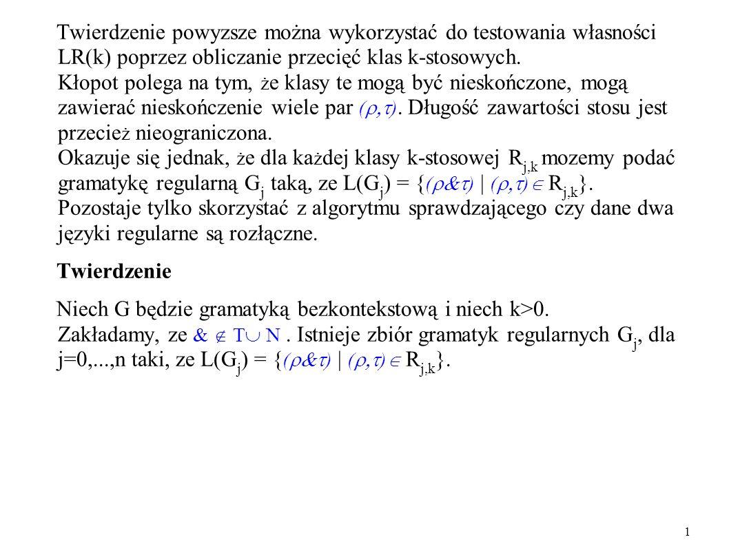 Twierdzenie powyzsze można wykorzystać do testowania własności LR(k) poprzez obliczanie przecięć klas k-stosowych. Kłopot polega na tym, ż e klasy te