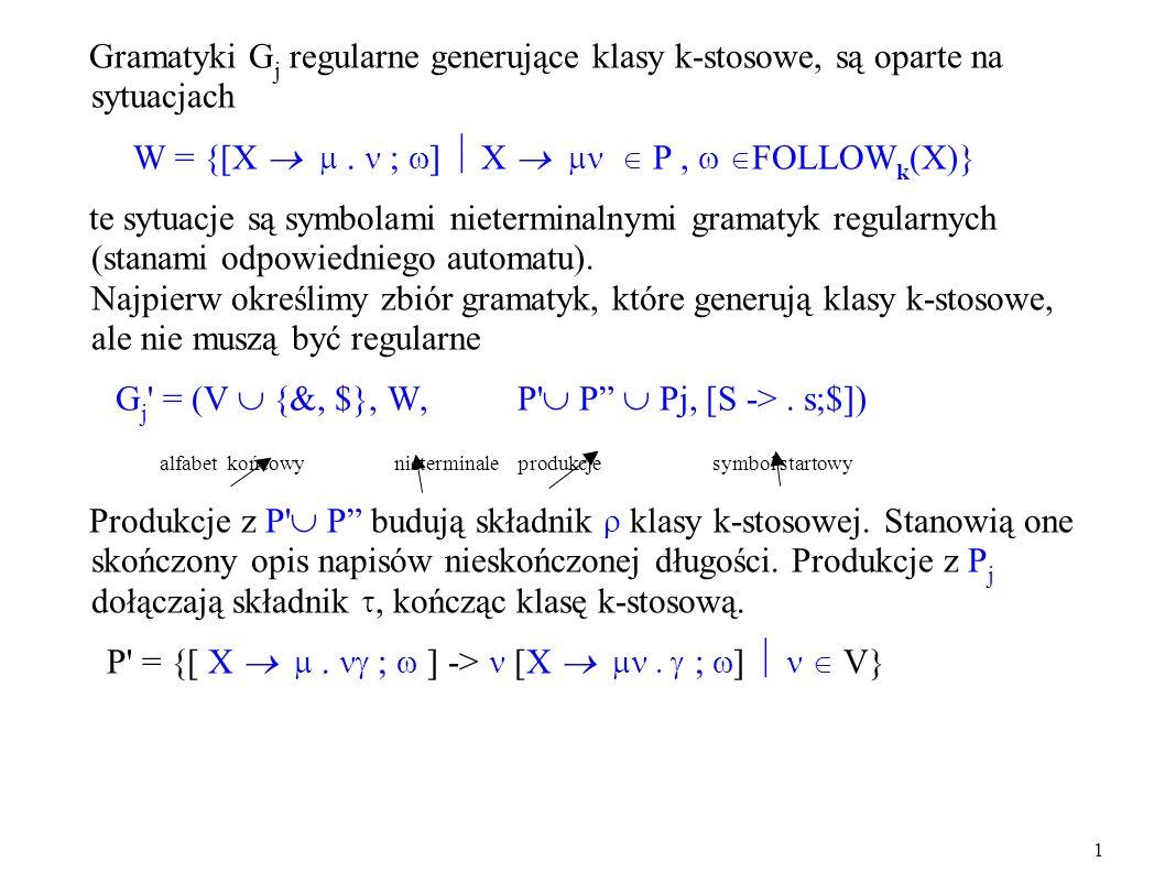 Gramatyki G j regularne generujące klasy k-stosowe, są oparte na sytuacjach W = {[X ; ] X P, FOLLOW k (X)} te sytuacje są symbolami nieterminalnymi gr
