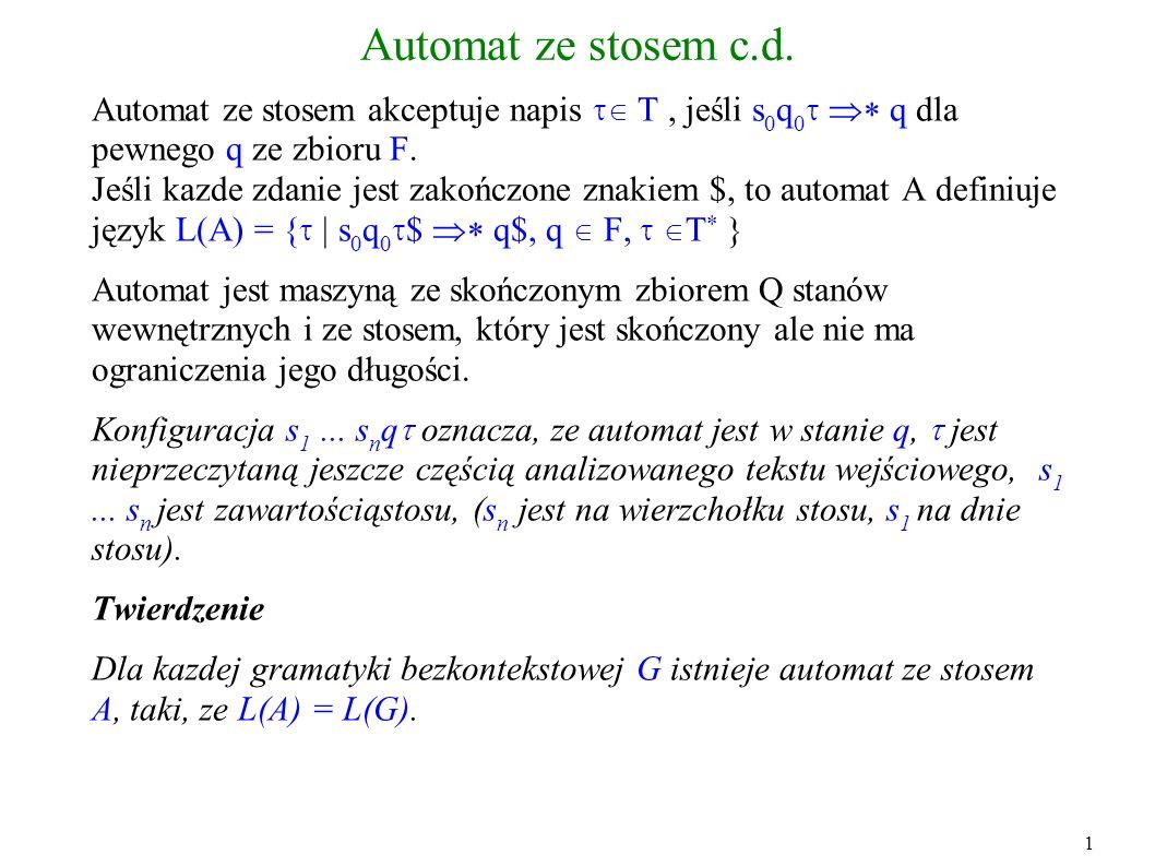 Automat ze stosem c.d. Automat ze stosem akceptuje napis T, jeśli s 0 q 0 q dla pewnego q ze zbioru F. Jeśli kazde zdanie jest zakończone znakiem $, t