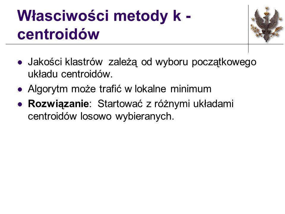 Metoda k centroidów (c.d.) Wyznaczanie nowego układu centroidów Idea: Nowy centroid jest środkiem ciężkości powstającego (w poprzednim przebiegu algorytmu) klastra.