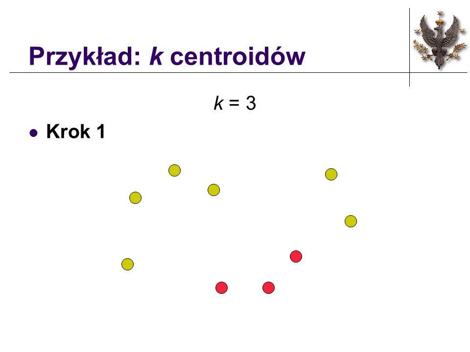 Własciwości metody k - centroidów Jakości klastrów zależą od wyboru początkowego układu centroidów.