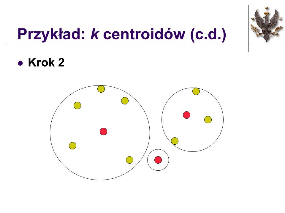 Przykład: k centroidów k = 3 Krok 1