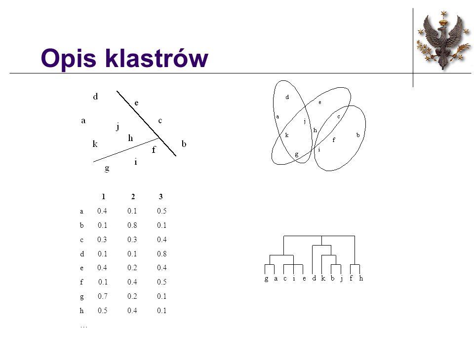 Opis klastrów 1 2 3 a 0.40.1 0.5 b 0.10.8 0.1 c 0.30.3 0.4 d 0.10.1 0.8 e 0.40.2 0.4 f 0.10.4 0.5 g 0.70.2 0.1 h 0.50.4 0.1 …
