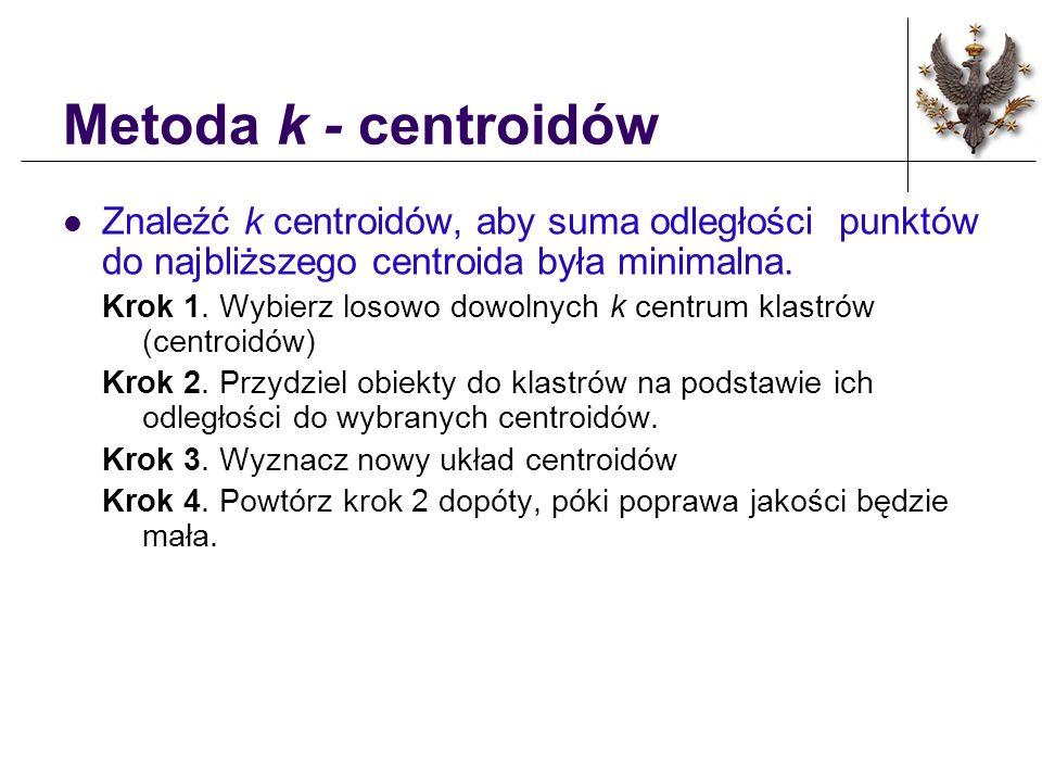 Metoda k - centroidów Znaleźć k centroidów, aby suma odległości punktów do najbliższego centroida była minimalna.