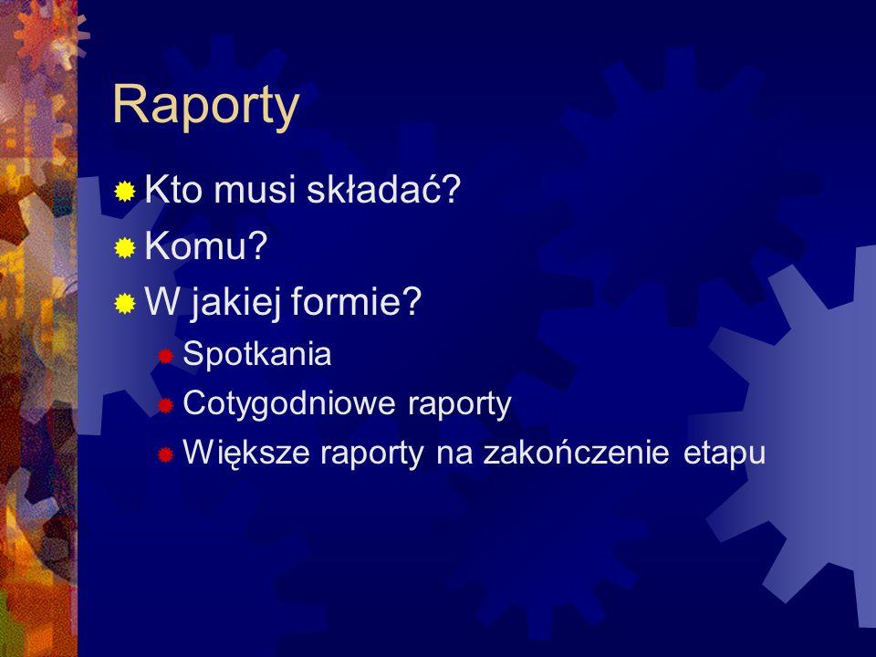 Raporty Kto musi składać? Komu? W jakiej formie? Spotkania Cotygodniowe raporty Większe raporty na zakończenie etapu