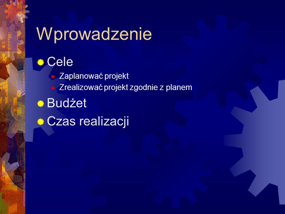 Wprowadzenie Cele Zaplanować projekt Zrealizować projekt zgodnie z planem Budżet Czas realizacji