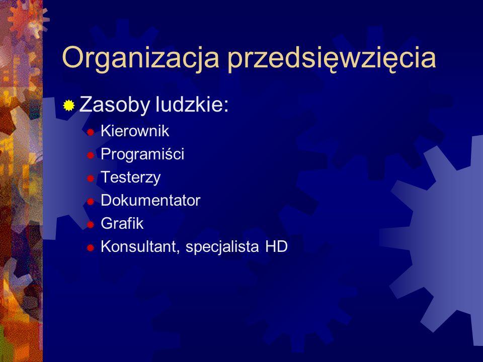 Organizacja przedsięwzięcia Zasoby ludzkie: Kierownik Programiści Testerzy Dokumentator Grafik Konsultant, specjalista HD