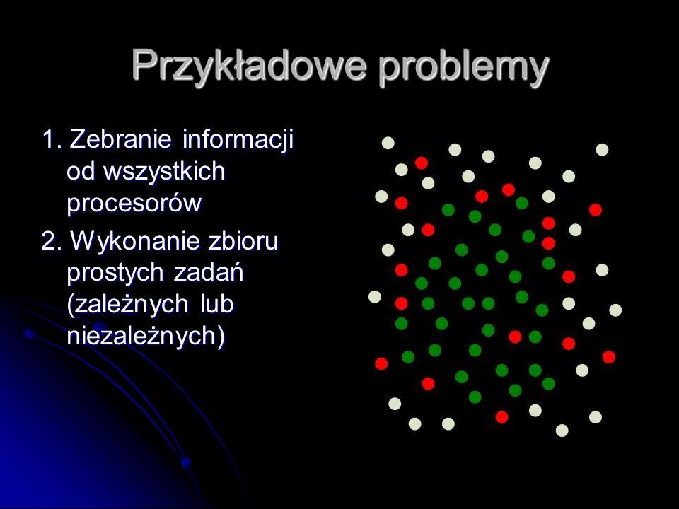 Przykładowe problemy 1. Zebranie informacji od wszystkich procesorów 2. Wykonanie zbioru prostych zadań (zależnych lub niezależnych)