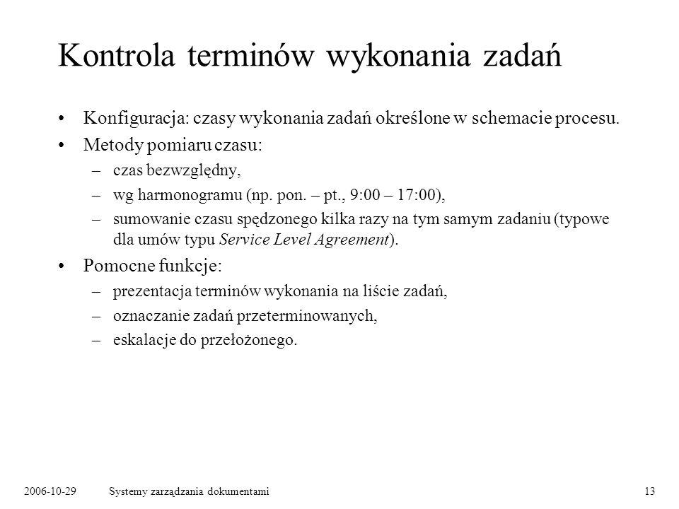 2006-10-29Systemy zarządzania dokumentami13 Kontrola terminów wykonania zadań Konfiguracja: czasy wykonania zadań określone w schemacie procesu. Metod