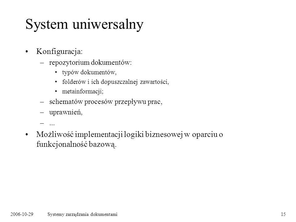 2006-10-29Systemy zarządzania dokumentami15 System uniwersalny Konfiguracja: –repozytorium dokumentów: typów dokumentów, folderów i ich dopuszczalnej