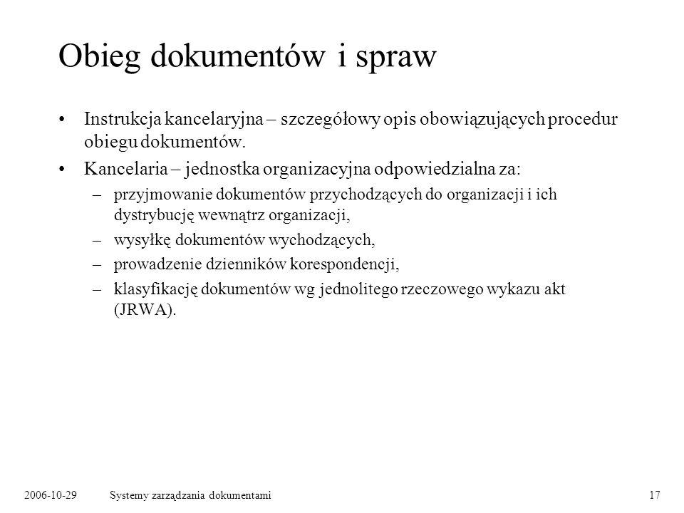 2006-10-29Systemy zarządzania dokumentami17 Obieg dokumentów i spraw Instrukcja kancelaryjna – szczegółowy opis obowiązujących procedur obiegu dokumen