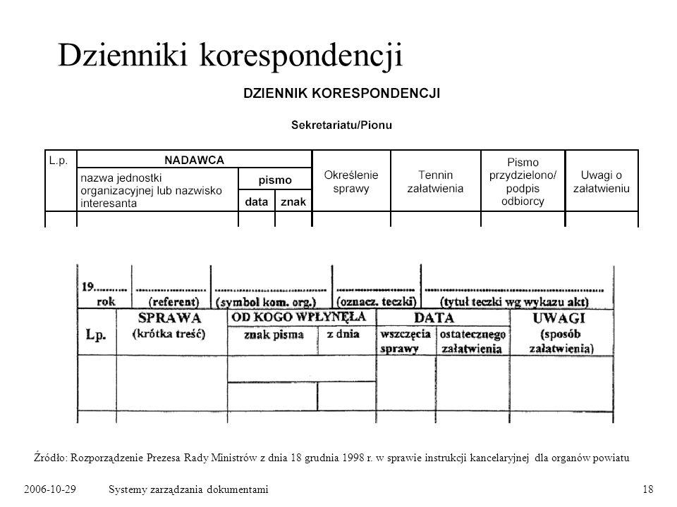 2006-10-29Systemy zarządzania dokumentami18 Dzienniki korespondencji Źródło: Rozporządzenie Prezesa Rady Ministrów z dnia 18 grudnia 1998 r. w sprawie