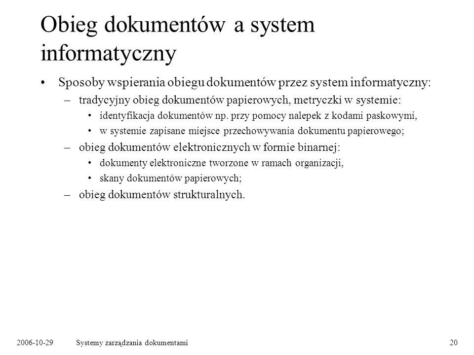 2006-10-29Systemy zarządzania dokumentami20 Obieg dokumentów a system informatyczny Sposoby wspierania obiegu dokumentów przez system informatyczny: –