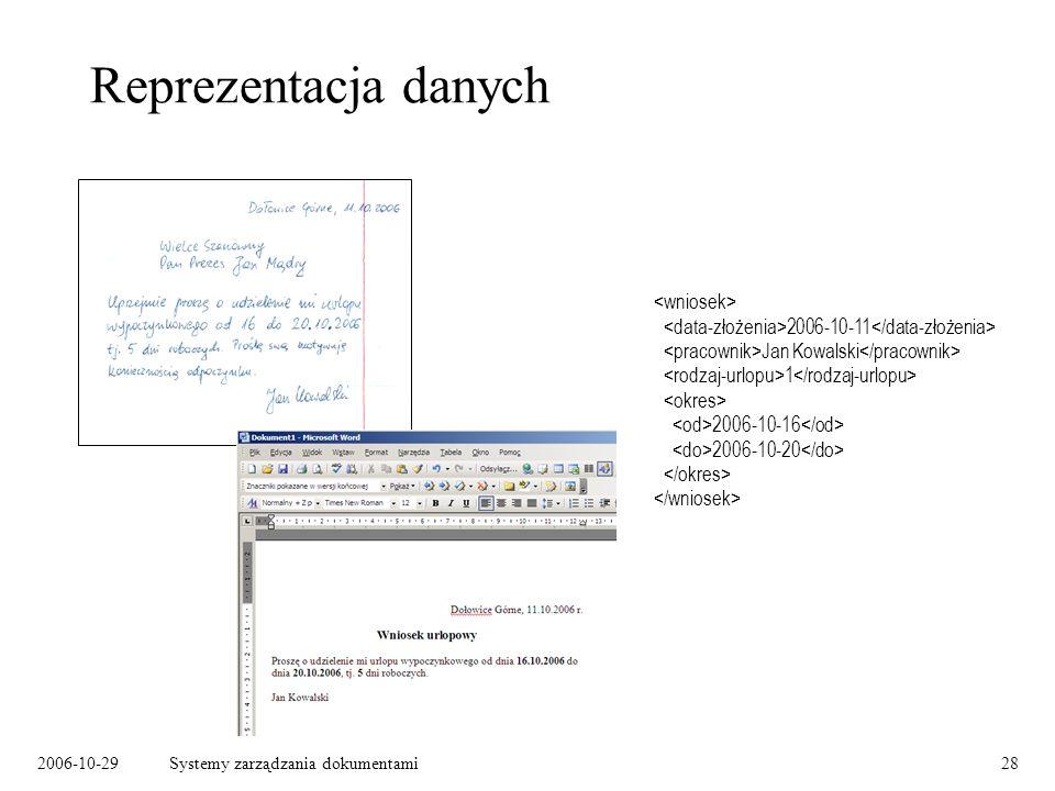 2006-10-29Systemy zarządzania dokumentami28 Reprezentacja danych 2006-10-11 Jan Kowalski 1 2006-10-16 2006-10-20
