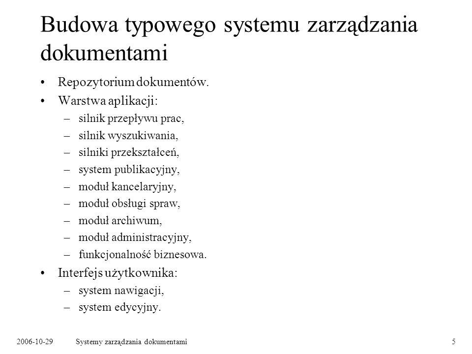 2006-10-29Systemy zarządzania dokumentami6 Repozytorium dokumentów Przechowywanie dokumentów: –dowolne typy dokumentów, –wersjonowanie, –blokowanie dokumentów do edycji, –metainformacje.