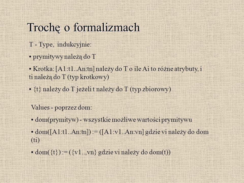 Trochę o formalizmach T - Type, indukcyjnie: prymitywy należą do T Krotka: [A1:t1..An:tn] należy do T o ile Ai to różne atrybuty, i ti należą do T (ty