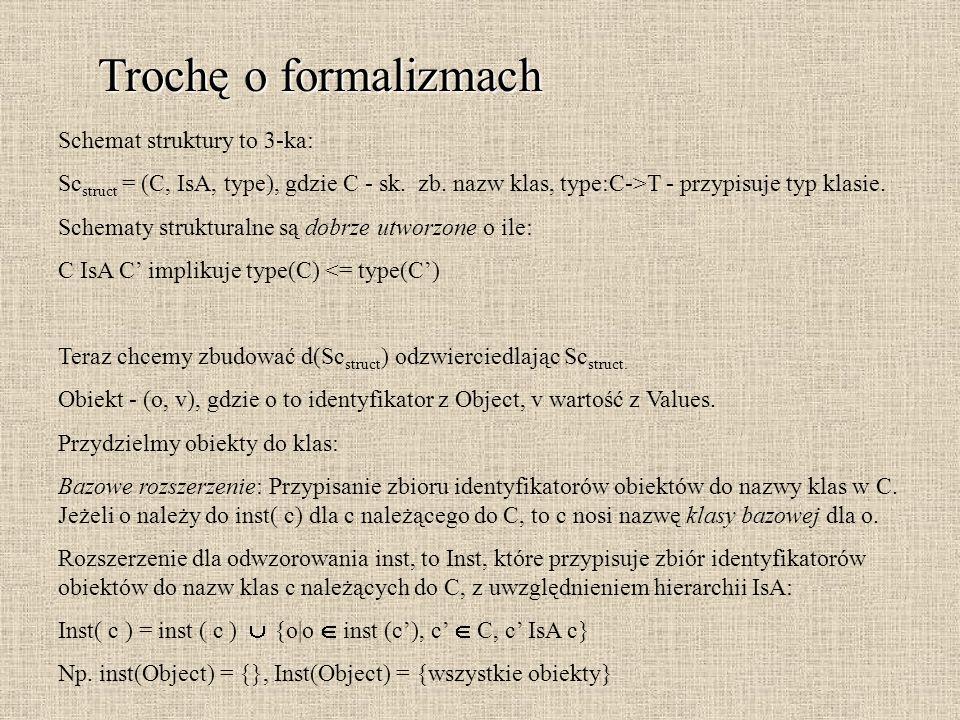 Trochę o formalizmach Schemat struktury to 3-ka: Sc struct = (C, IsA, type), gdzie C - sk. zb. nazw klas, type:C->T - przypisuje typ klasie. Schematy