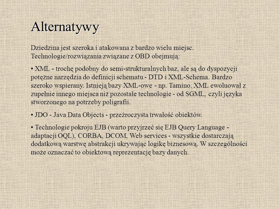Alternatywy Dziedzina jest szeroka i atakowana z bardzo wielu miejsc. Technologie/rozwiązania związane z OBD obejmują: XML - trochę podobny do semi-st