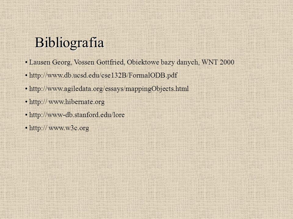 Bibliografia Lausen Georg, Vossen Gottfried, Obiektowe bazy danych, WNT 2000 http://www.db.ucsd.edu/cse132B/FormalODB.pdf http://www.agiledata.org/ess