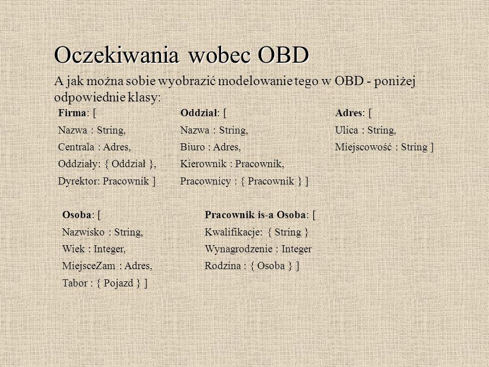 Oczekiwania wobec OBD A jak można sobie wyobrazić modelowanie tego w OBD - poniżej odpowiednie klasy: Firma: [ Nazwa : String, Centrala : Adres, Oddzi