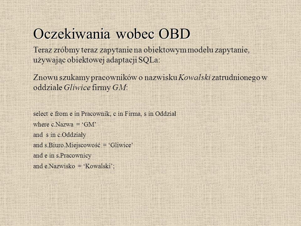 Oczekiwania wobec OBD To były cechy związane z aspektami strukturalnymi OBD.