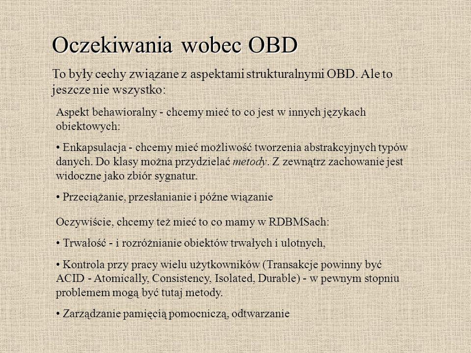 Oczekiwania wobec OBD To były cechy związane z aspektami strukturalnymi OBD. Ale to jeszcze nie wszystko: Aspekt behawioralny - chcemy mieć to co jest