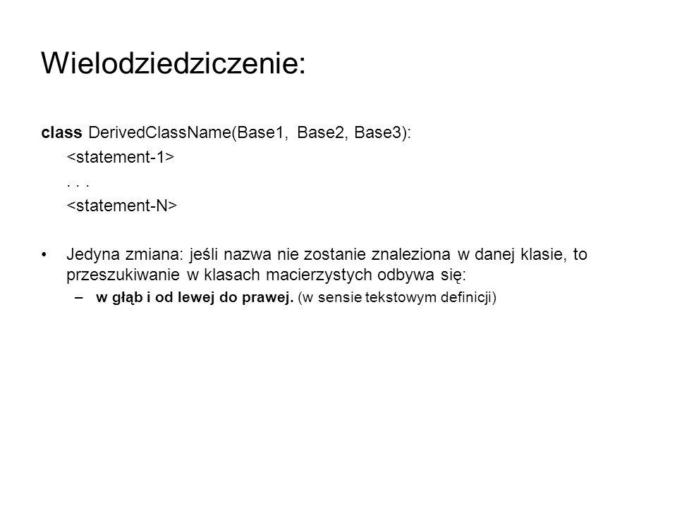 Wielodziedziczenie: class DerivedClassName(Base1, Base2, Base3):... Jedyna zmiana: jeśli nazwa nie zostanie znaleziona w danej klasie, to przeszukiwan