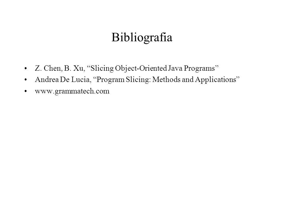 Bibliografia Z. Chen, B. Xu, Slicing Object-Oriented Java Programs Andrea De Lucia, Program Slicing: Methods and Applications www.grammatech.com