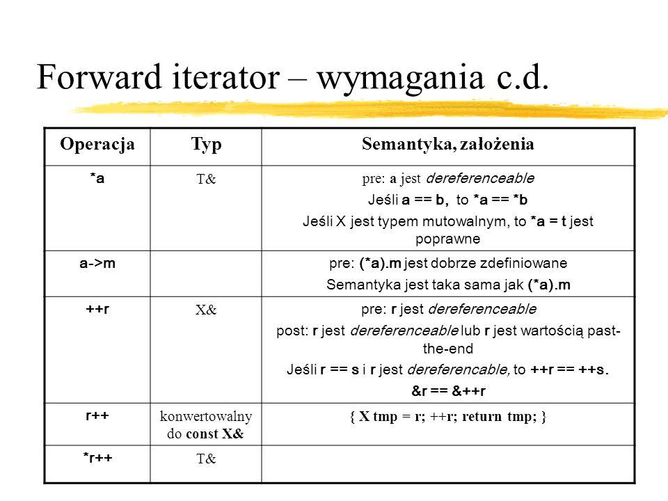Forward iterator – wymagania c.d.