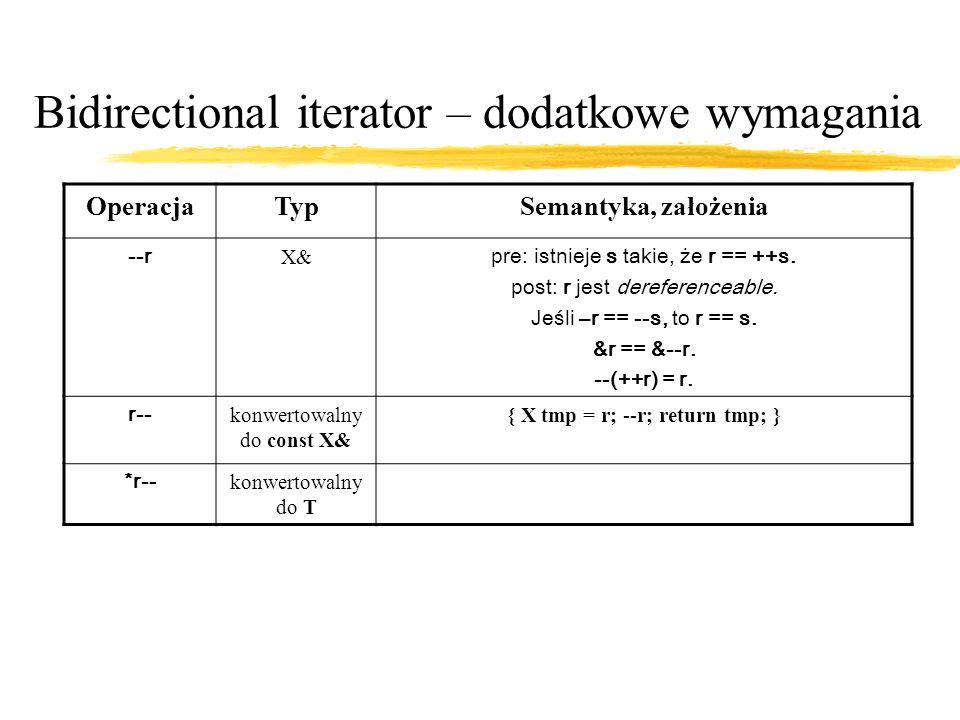Bidirectional iterator – dodatkowe wymagania OperacjaTypSemantyka, założenia --r X& pre: istnieje s takie, że r == ++s.