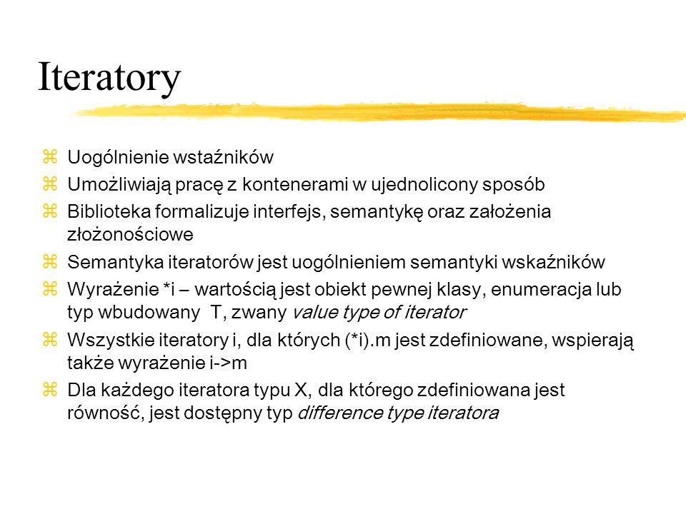 Rodzaje iteratorów zinput iterators zoutput iterators zforward iterators zbidirectional iterators zrandom access iterators
