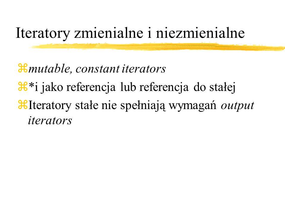 Iteratory zmienialne i niezmienialne zmutable, constant iterators z*i jako referencja lub referencja do stałej zIteratory stałe nie spełniają wymagań output iterators