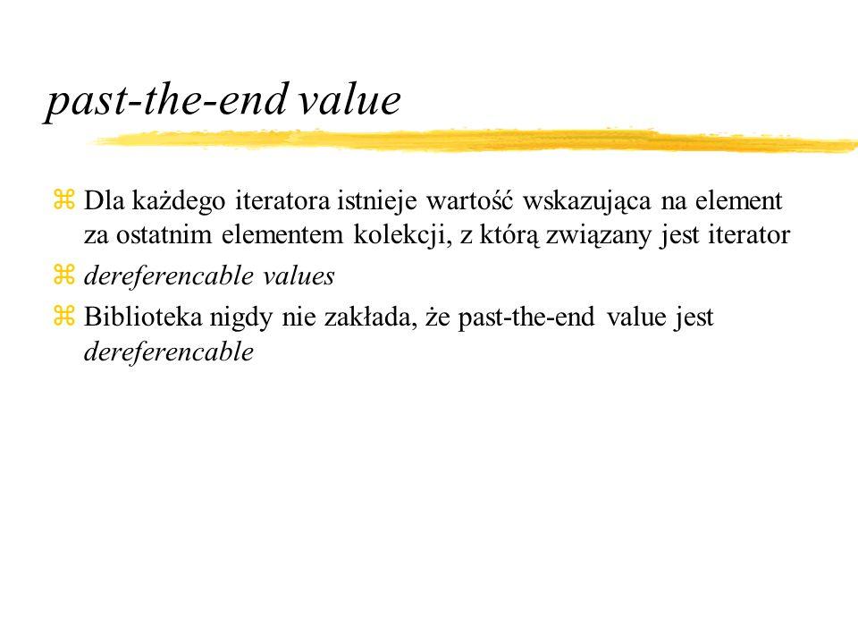 past-the-end value zDla każdego iteratora istnieje wartość wskazująca na element za ostatnim elementem kolekcji, z którą związany jest iterator zdereferencable values zBiblioteka nigdy nie zakłada, że past-the-end value jest dereferencable
