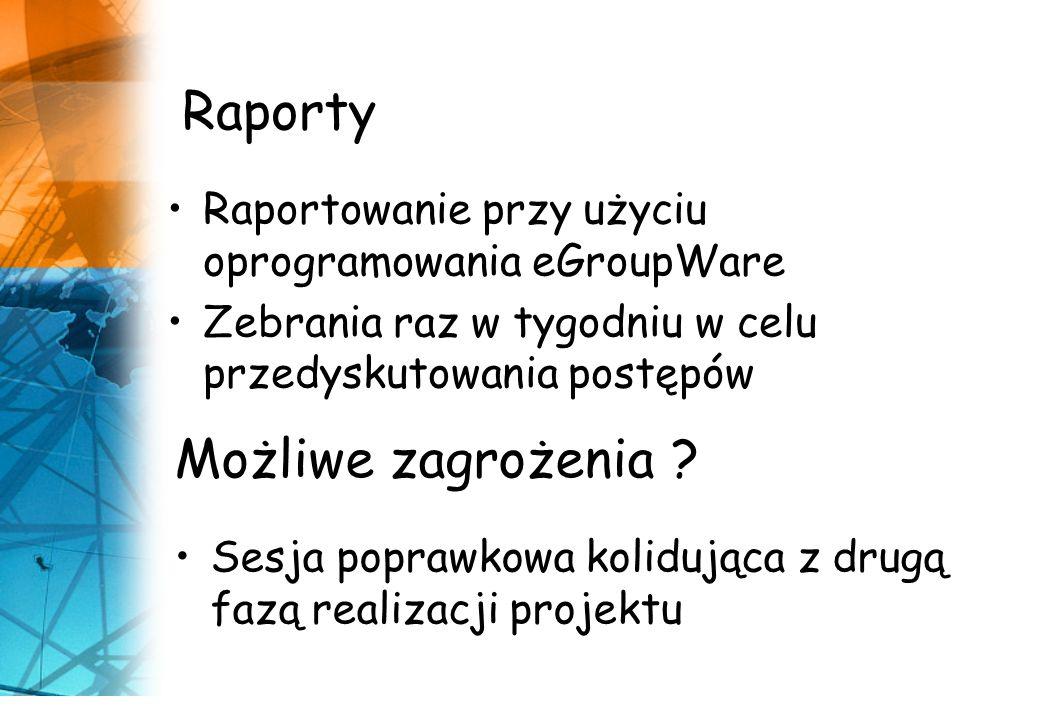 Możliwe zagrożenia ? Sesja poprawkowa kolidująca z drugą fazą realizacji projektu Raporty Raportowanie przy użyciu oprogramowania eGroupWare Zebrania