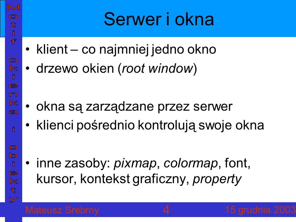 Mateusz Srebrny 15 grudnia 2003 4 Serwer i okna klient – co najmniej jedno okno drzewo okien (root window) okna są zarządzane przez serwer klienci pośrednio kontrolują swoje okna inne zasoby: pixmap, colormap, font, kursor, kontekst graficzny, property