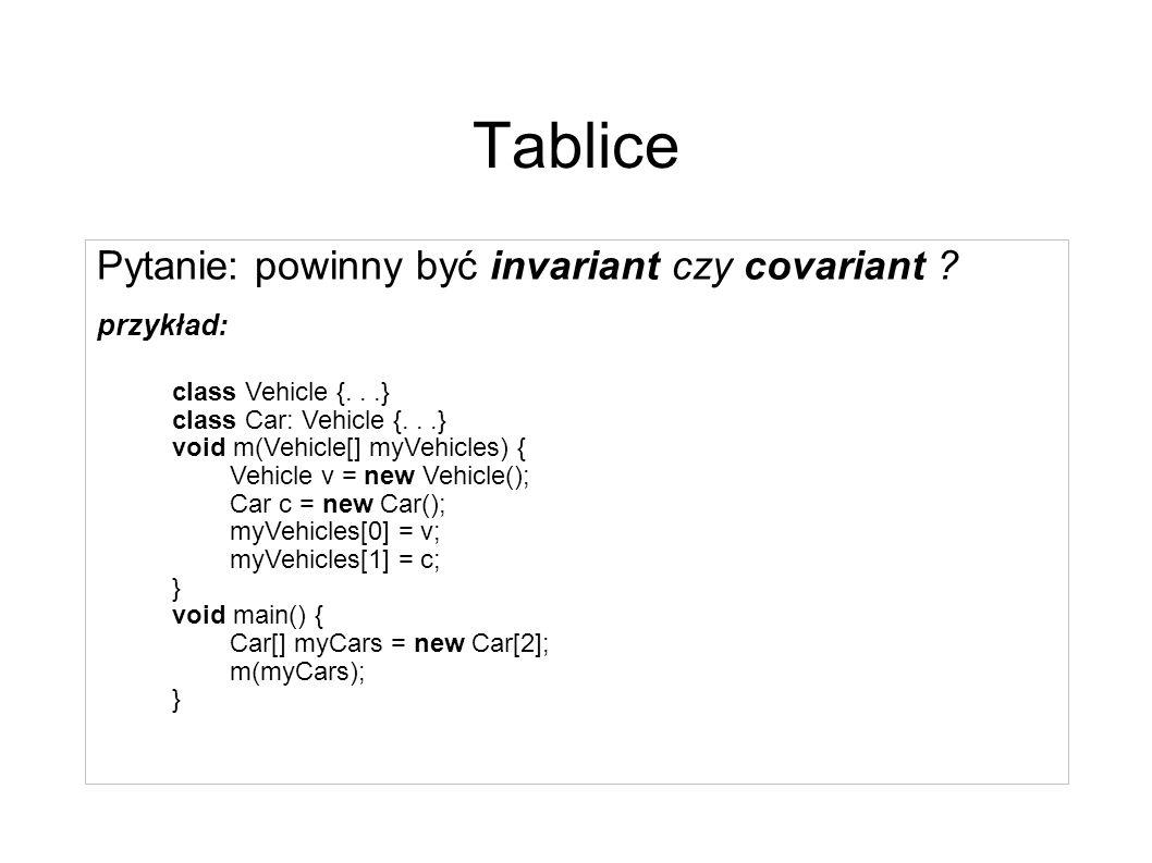 Tablice [CIL] Tablice wielowymiarowe: – prawdziwe, np.: int[,] – w stylu C/Java (jagged arrays), np..: int [][] są typu System.Array, w szczególności nie jest poprawne następujące przeciążenie metody: void method(int [][]) void method(float [][]) Tablice 0-wymiarowe - brak – jedyny język w którym zostały zaimplementowane to APL – problemy związane z implementacją