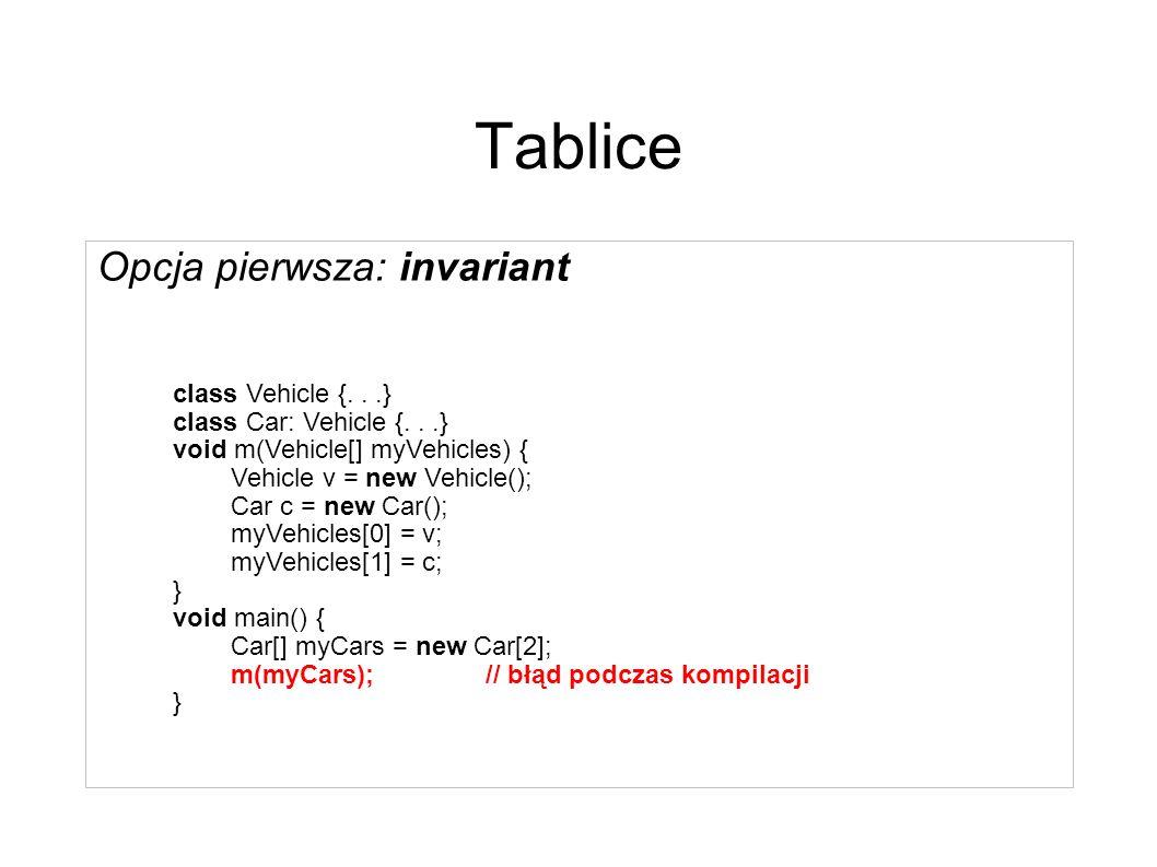 Tablice Pytanie: powinny być invariant czy covariant .
