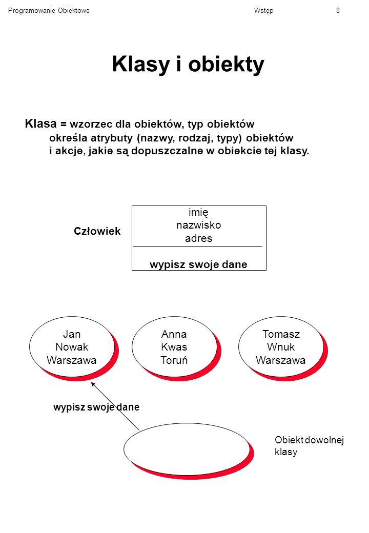 Programowanie ObiektoweWstęp8 Klasy i obiekty Klasa = wzorzec dla obiektów, typ obiektów określa atrybuty (nazwy, rodzaj, typy) obiektów i akcje, jaki