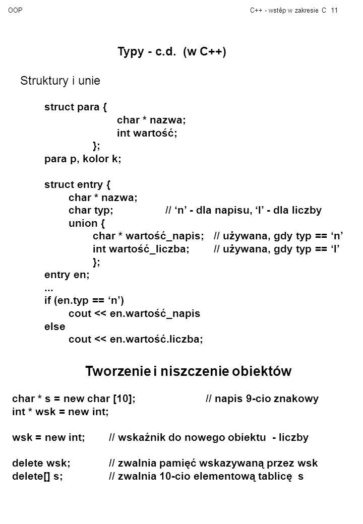 OOPC++ - wstêp w zakresie C11 Typy - c.d.