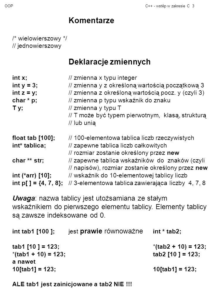 OOPC++ - wstêp w zakresie C3 Komentarze /* wielowierszowy */ // jednowierszowy Deklaracje zmiennych int x; // zmienna x typu integer int y = 3;// zmienna y z określoną wartością początkową 3 int z = y;// zmienna z określoną wartością pocz.