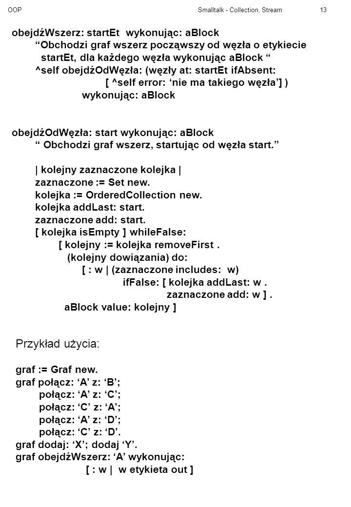 OOP Smalltalk - Collection, Stream13 obejdźWszerz: startEt wykonując: aBlock Obchodzi graf wszerz począwszy od węzła o etykiecie startEt, dla każdego