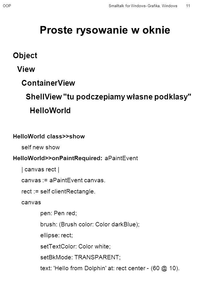 OOPSmalltalk for Wndows- Grafika, Windows11 Proste rysowanie w oknie Object View ContainerView ShellView tu podczepiamy własne podklasy HelloWorld HelloWorld class>>show self new show HelloWorld>>onPaintRequired: aPaintEvent | canvas rect | canvas := aPaintEvent canvas.