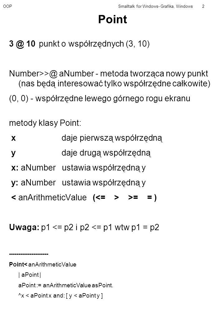 OOPSmalltalk for Wndows- Grafika, Windows2 Point 3 @ 10punkt o współrzędnych (3, 10) Number>>@ aNumber - metoda tworząca nowy punkt (nas będą intereso